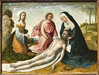 Juan de Flandes. The Lamentation over the dead Christ. ca. 1500. Oil on panel. 23 x 30 cm.