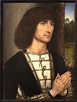 Hans Memling. Portrait of a Young Man praying (recto). ca. 1485. Oil on panel. 29. 2 x 22. 5 cm.