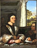 Sebastiano del Piombo (Sebastiano Luciani). Portrait of Ferry Carondelet with his Secretaries. ca. 1510 - 1512. Oil on panel. 112. 5 x 87 cm.