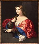"""Palma Vecchio (Jacopo Negretti). Portrait of a Young Woman Known as """"""""La Bella"""""""". ca. 1518 - 1520. Oil on canvas. 95 x 80 cm."""