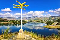 Location sign at the Bruce Jackson Lookout, Cromwell, Central Otago, South Island, New Zealand.