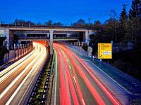 Federal road, B 17, four-lane, four-lane road, dawn, rush hour traffic, rush hour, railway line, railway bridge, traffic route, traffic artery