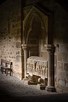 tomb of the Abbot Pedro, dated 1183. San Martín de Elines, Valderredible region, Cantabria, Spain.