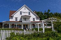 The Orcas Hotel, a historic inn and cafe built 1904, in Orcas Village on Orcas Island in the San Juan Islands in Washington State, United States.