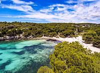 Cala Macarella, Macarella Bay, elevated view, Menorca or Minorca, Balearic Islands, Spain.