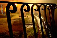 Fence in a park of Bustarviejo, Madrid, Spain.