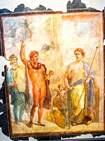 Decorative fresco depicting the wedding of Alexander and Roxanne or Mars and Aphrodite (period of Nero (54-68 AD) - Pompeii archaeological site, Italy...