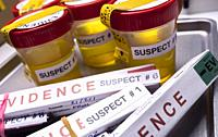 Various analyses of urine, saliva and blood of homicide suspects in crime lab, conceptual image.