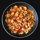 Fried Shrimps in Tomato Sauce (with onions, garlic; green and red peppers, salt and black pepper).