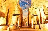 Luxor temple main entrance, first pylon, Egypt.