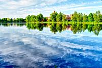 Beauriful lake. Summer landscape.