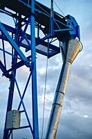Structure in an industrial facility in a port area. Cantabria, Spain, Europe.