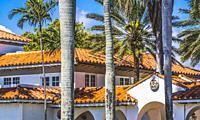 Orange Roofs Buildings Palm Trees Palm Beach Florida.