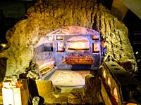 Subterranean tomb chambers in â. œDrugstore Galleryâ. . Catacombs in Via Portuense, Rome, Italy. The tomb of the warrior of Muratella, a burial databl...