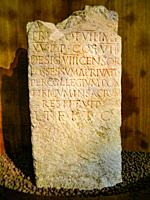 The travertine stone with an inscription that reveals the intervention of Emperor Vespasian in the 1st century AD. At â. œDrugstore Galleryâ. . Cataco...