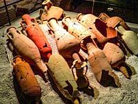 Roman amphoras in â. œDrugstore Galleryâ. . Catacombs in Via Portuense, Rome, Italy.