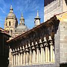San Miguel Church and The Cathedral. Segovia. Spain.