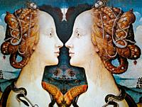 Women in Art, portrait of Simonetta Vespucci painted by Piero di Cosimo in the year 1482, reflected in a mirror.