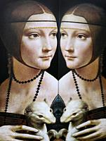 Women in Art, portrait of Lady with an Ermine painted by Leonardo Da Vinci in the year 1490, reflected in a mirror.