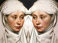 Women in Art, portrait of a woman painted by Robert Campin in the year 1435, reflected in a mirror.