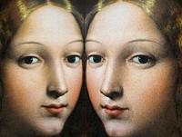Women in Art, portrait of vice-queen of Naples painted by Raffaello Sanzio in the year 1535, reflected in a mirror.