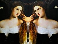 Women in Art, portrait of a woman painted by Tiziano Vecellio in the year 1515, reflected in a mirror.
