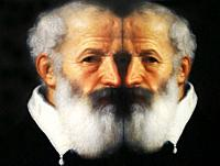 Men in Art, portrait of an old man painted by Giovan Battista Moroni in the year 1570, reflected in a mirror.