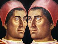 Men in Art, portrait of cardinal Carlo de Medici painted by Andrea Mantegna in the year 1463, reflected in a mirror.