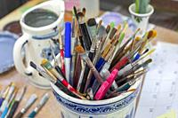 Holland, Michigan - Brushes used for painting Delftware at the De Klomp Wooden Shoe and Delft Factory, part of the Veldheer tulip farm. The city's Dut...