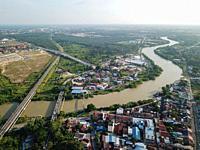 Kerian river pass Nibong Tebal town at Asia.