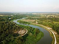 Aerial view Sungai Perai and green cultivation land.