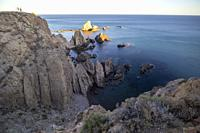 Lighthouse in Cabo de Gata Almeria Andalusia Spain Las sirenas rocks.