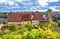 Oberes Schloss (Upper Castle), also Obere Burg, a medieval hilltop castle complex surrounded by vineyards, in Talheim in the Heilbronn Region, Baden-W...