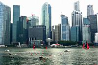 Singapore, city seen from the pier.