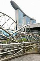 Singapore, Marina Bay Sands Hotel seen from Helix Bridge.