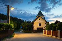Fire station in Cremosne village, Turiec region, Slovakia.