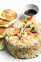 thai shrimp seafood fried rice traditional meal in bangkok restaurant thailand.