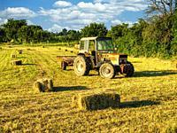 tractor in a hay field, Montignac-de-Lauzun, Lot-et-Garonne Department, Nouvelle-Aquitaine, France.