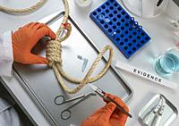 Police scientist extracts DNA sample from hanging victim's body, crime lab analysis, conceptual image.