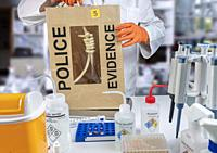 Police scientist extracts rope from hanging victim, crime lab analysis, conceptual image.