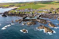 Aerial view from drone of St Abbs in Scottish Borders, Scotland, UK.