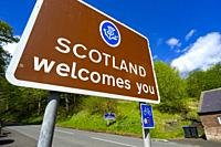 Scottish border signs marking England- Scotland border at Newham beside River Tweed in Scottish Borders, Scotland, UK.