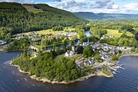 Aerial view of Kenmore village at Loch Tay in Perthshire, Scotland, Uk.
