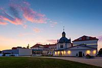 Historical spa buildings in Turcianske Teplice, Slovakia.