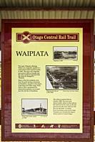 Interpretive sign on the Otago Central Rail Trail, Otago, South Island, New Zealand.