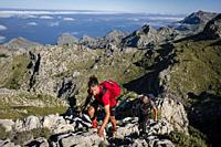 ascent to the Morro d'en Pelut, Altitude 1,319 m. , Mallorca, Balearic Islands, Spain.