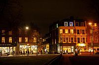 Clapham Common Pavement Shops at Night, London UK.
