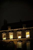 Grand House at Night With Lights On - UK.