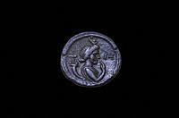 Madrid, Spain - March 6th 2021: Harpocrates in Tetradrachm of Hadrian. Alexandria, 132 AC. National Archaelogical Museum, Spain.