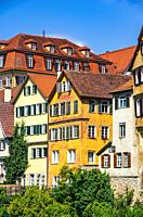 Beautiful sight of the historical Neckar Waterfront of the Old Town of Tübingen, Baden-Württemberg, Germany.